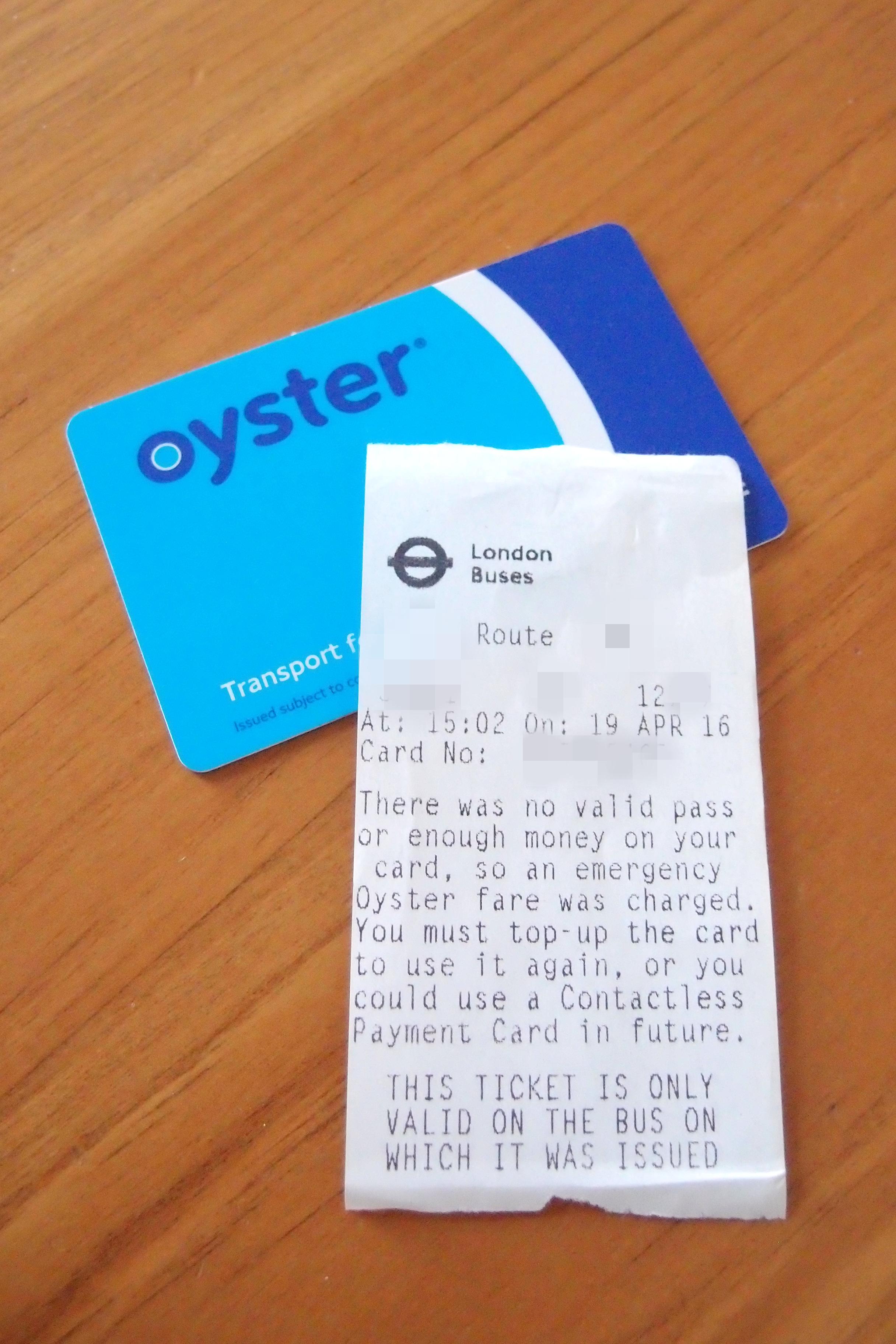オイスターカードに十分な残高がない状態でバスに乗るとどうなるか。One more bus journey to get you homeとは?