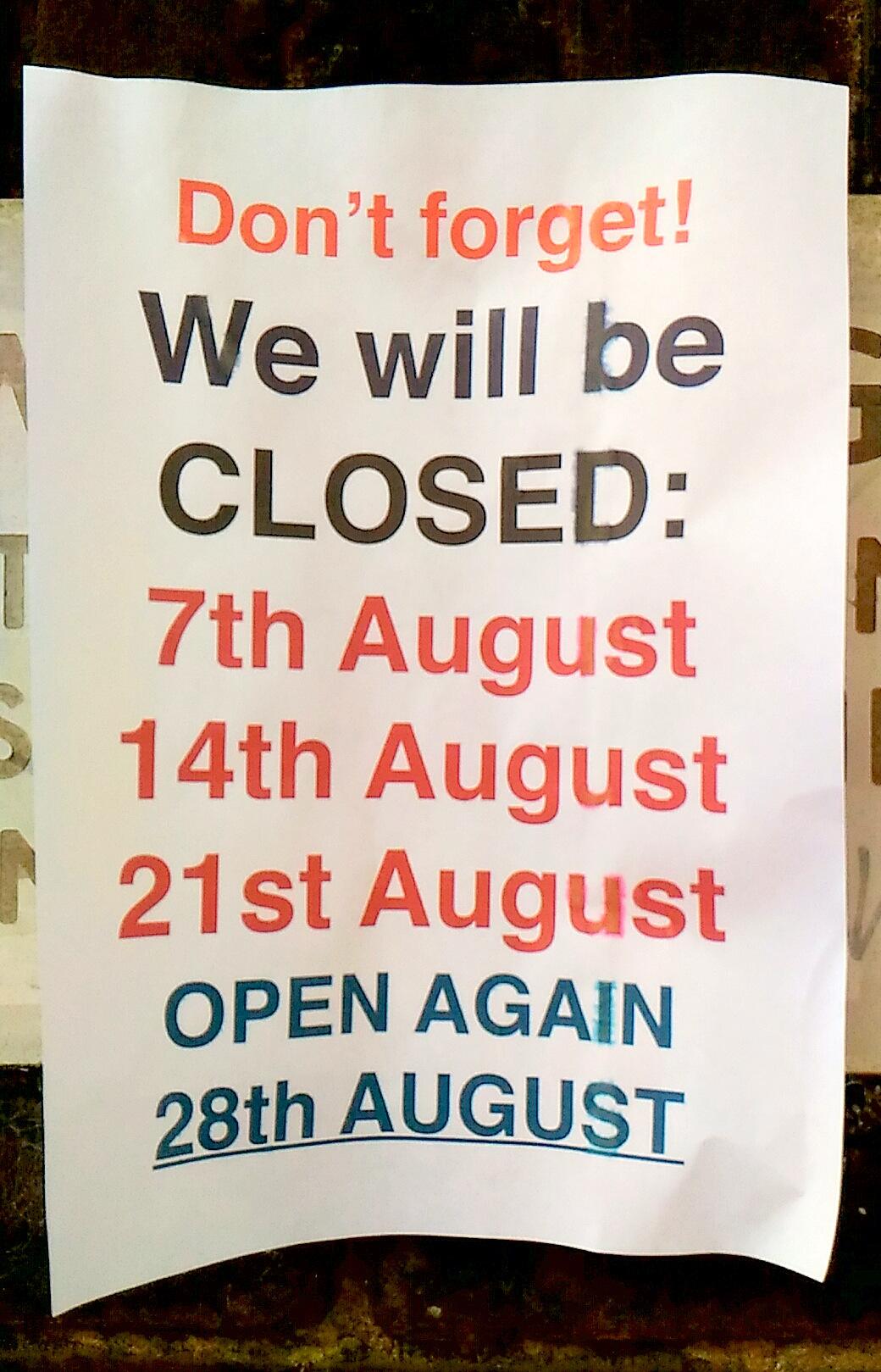Battersea のカーブーツに行く予定の方はご注意を!今月はスケジュールが変わっています。